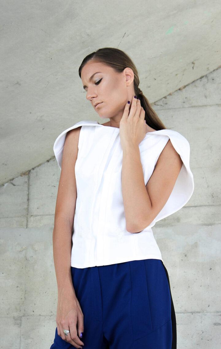 Elegant White Pelerine Blouse